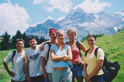 Mason, Nigel, Jim, Meredith, Kathy, (?), and Alex (behind the camera) at the festival on a beautiful Sunday afternoon of July 28, 2002.