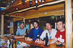 The Gimmelwald old-timers club: John, Ian, Jeff, Alex