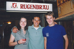 Kristy, Jason, and Kurt are doing an advertisement for Rugenbrau.