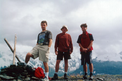 Alex, Jarod, and Jeff on top of Bietenhorn. August 8, 2000