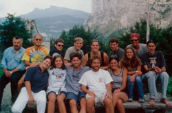 Final Group Photo: August 7th, 2000. Left to right, Upper Row: Walter (the owner of the Mountain Hostel), Johnny (Los Angeles, CA), Jared (Ontario, Canada), Scott (Chicago, IL), Heather (Seattle, WA), Alex (New York, NY), Trey (Birmingham, AL). Front row: Petra (the owner of the Mountain Hostel), Marisa (Vancouver, BC), Jeff (Vancouver, BC), Dana (San Francisco, CA), Amy (Toronto, ON), Diana (Toronto, ON), Matt (Australia).