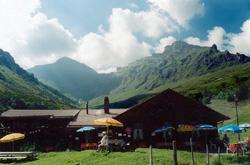 Spielbodenalp. Schilthorn peak is covered in clouds in the far distance.