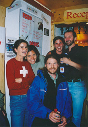 Gimmelwald regulars: Simone, Johnnie and Troy (visit alpinehikers.com), Natalie, and Marc.