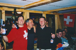 Nigel, and Chris with his dad. Chris' last night in the Alps.
