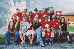 Alex, Nicole, Eli, Alana, Jason, Dan, Sebastian, Walter, Peter, Mike, Jessy, Petra, Michelle, Adrian and Nicole are in Swiss colors.